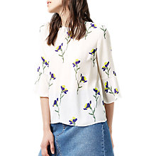 Buy Warehouse Iris Fluted Sleeve Top, Cream Online at johnlewis.com