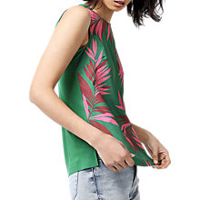 Buy Warehouse Graphic Palm Print Woven Front Top, Green Online at johnlewis.com