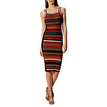 Buy Karen Millen Texture Stripe Knit Dress, Red/Multi Online at johnlewis.com