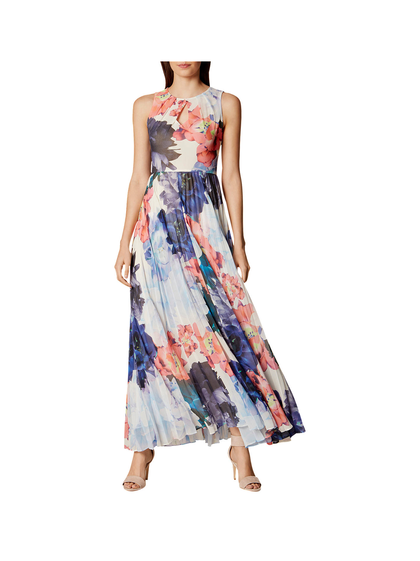 95b261d7d8 Buy Karen Millen Floral Pleated Maxi Dress, Multi, 6 Online at  johnlewis.com ...
