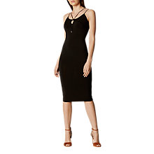 Buy Karen Millen Strappy Jersey Pencil Dress, Black Online at johnlewis.com