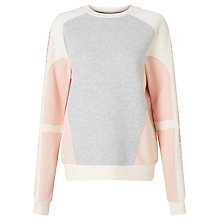 Buy Calvin Klein Hani Colour Block Sweatshirt, Light Grey Heather/Peach Online at johnlewis.com