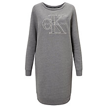 Buy Calvin Klein Dalis Logo Sweatshirt Dress, Light Grey Heather Online at johnlewis.com