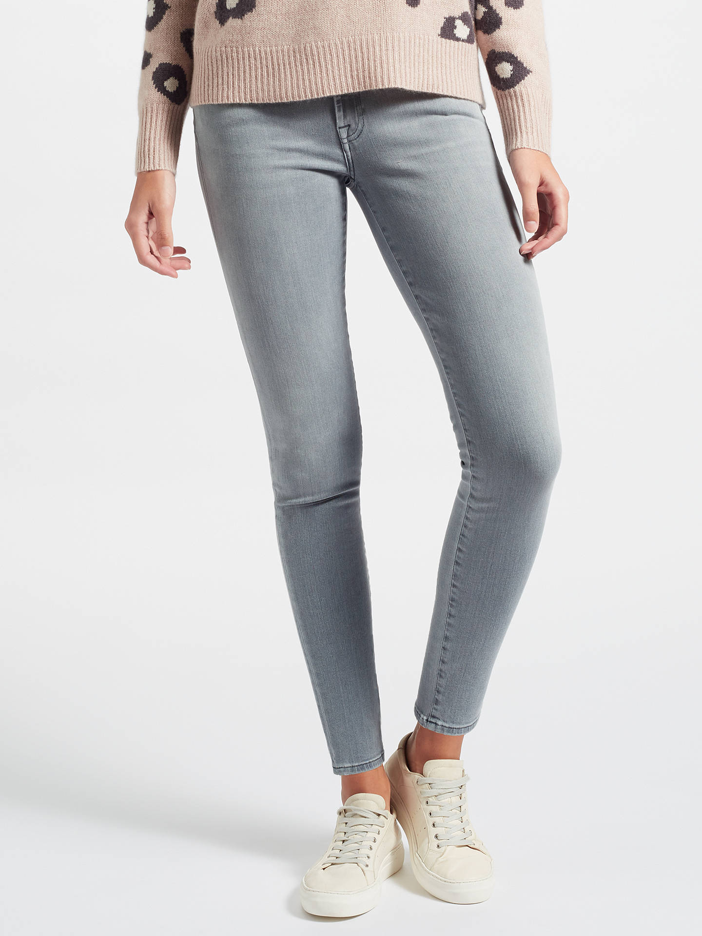 a1ad3197aa47 Buy 7 For All Mankind Mid Rise Skinny Slim Illusion Jeans, Grey, 24 Online  ...
