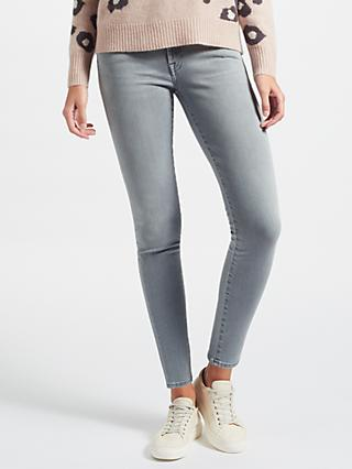 7 For All Mankind Mid Rise Skinny Slim Illusion Jeans, Grey