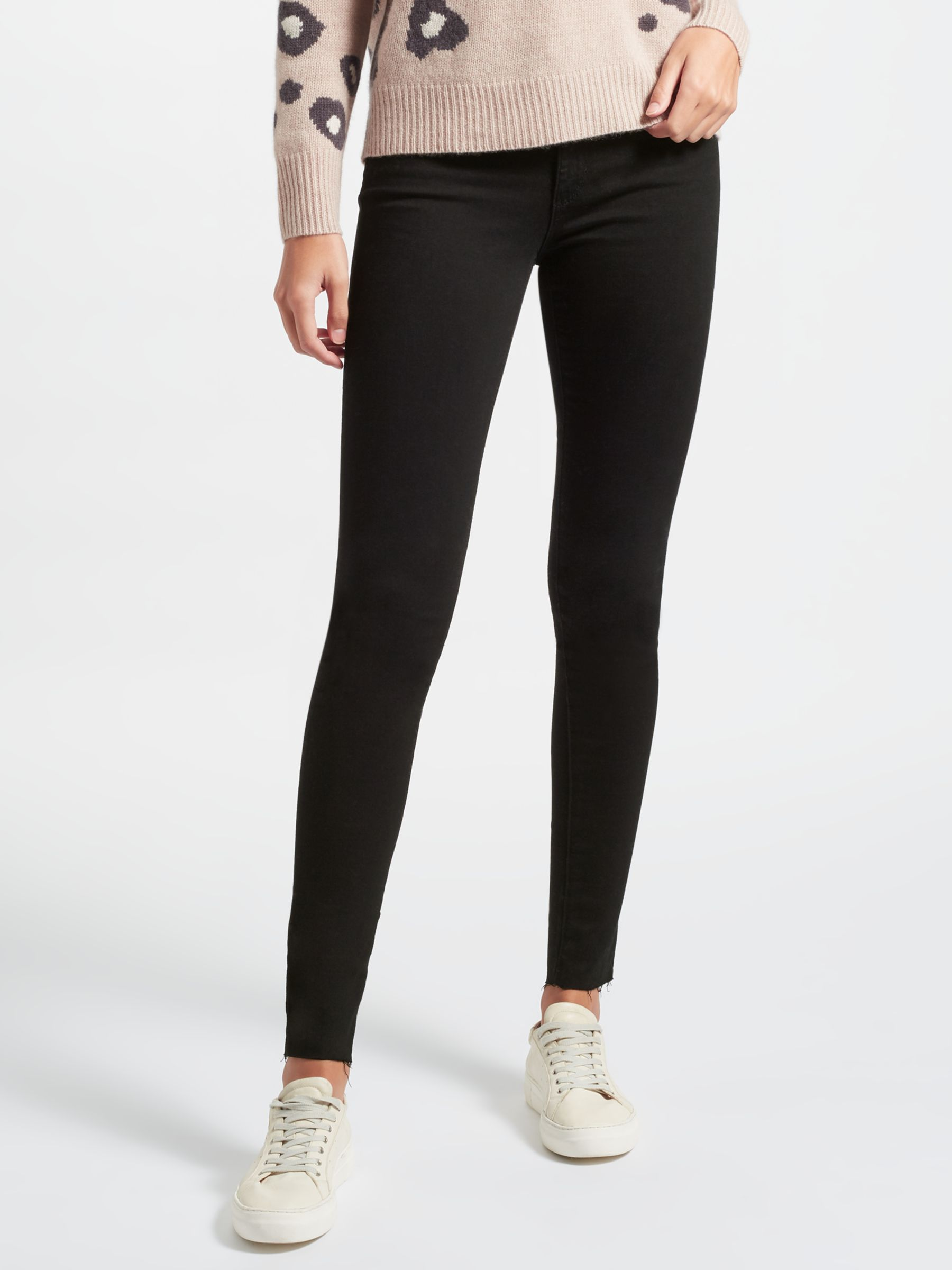 7 For All Mankind 7 For All Mankind Rozie High Rise Slim Illusion Straight Leg Jeans, Black
