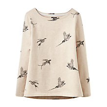 Buy Joules Harbour Long Sleeve Printed Jersey Top, Oat Marl Birds Online at johnlewis.com