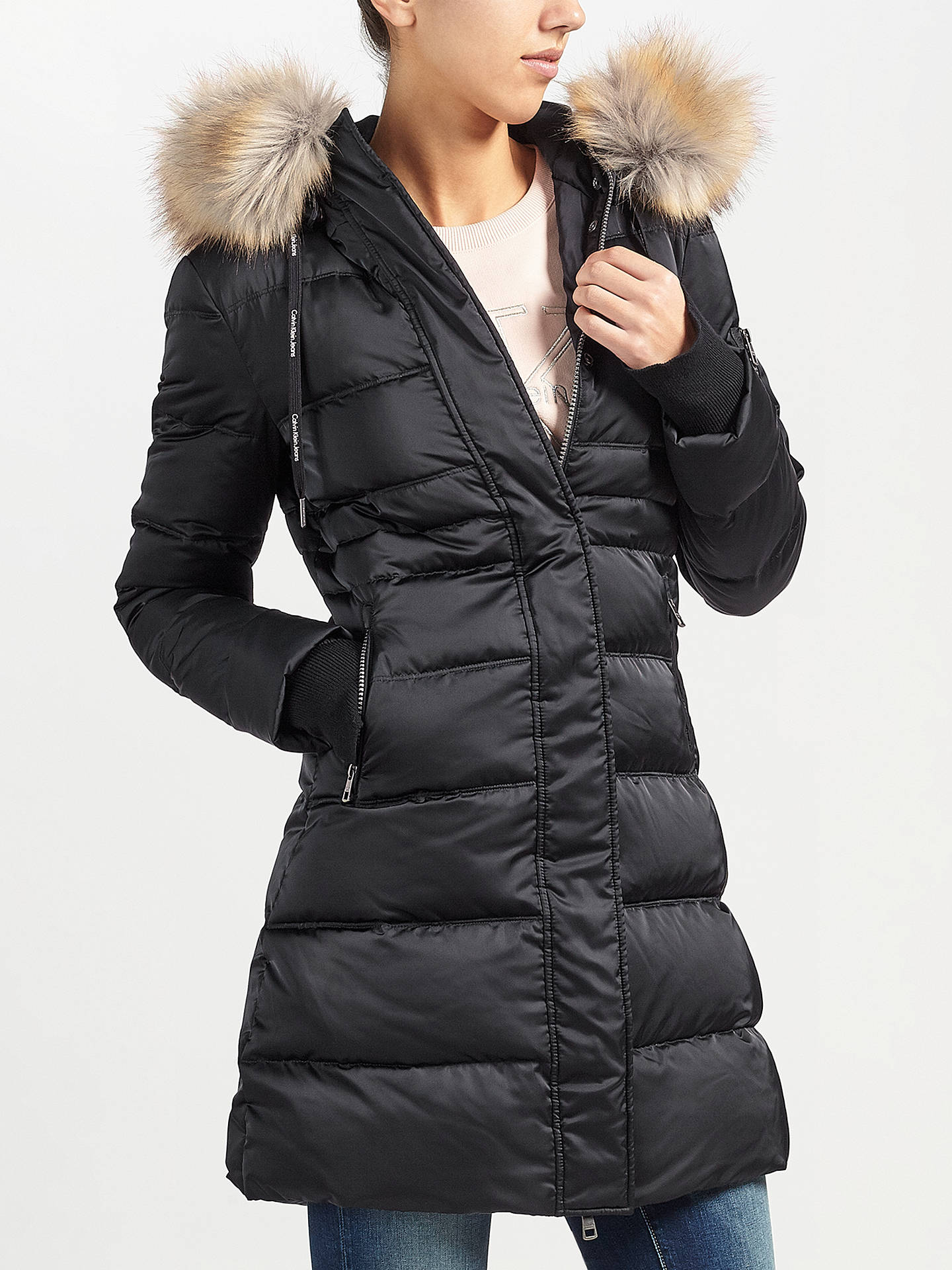 BuyCalvin Klein Opra Hooded Down Filled Coat, CK Black, XS Online at  johnlewis. 076b7a0544