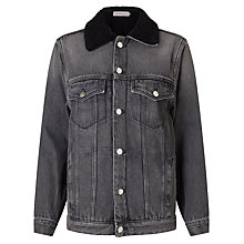 Buy Calvin Klein Shearling Denim Jacket, Black Top Rigid Online at johnlewis.com