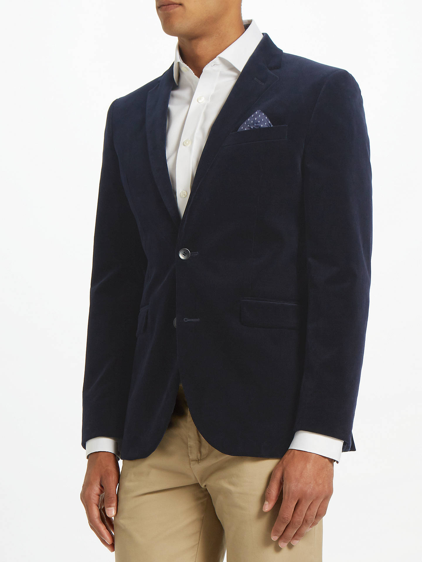 Buy John Lewis & Partners Stretch Cord Tailored Blazer, Navy, 38R Online at johnlewis.com