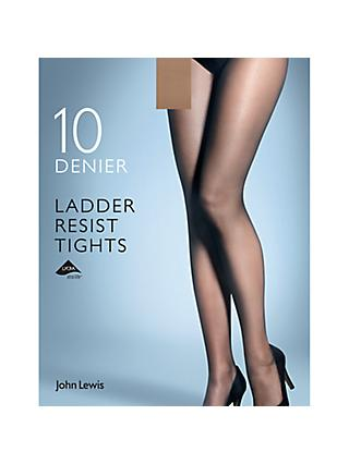 John Lewis & Partners 10 Denier Smooth Ladder Resist Tights, Pack of 1