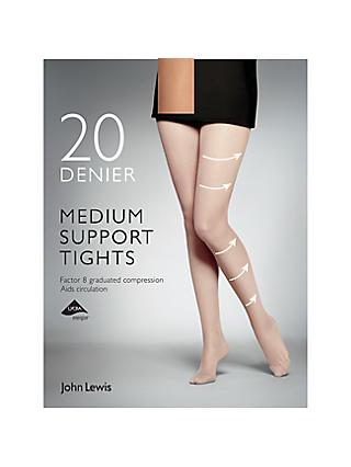 John Lewis & Partners 20 Denier Medium Support Tights, Pack of 1