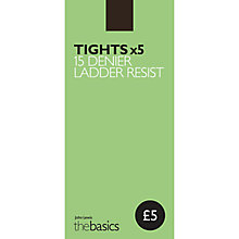 Buy John Lewis 15 Denier Ladder Resist Tights, Pack of 5 Online at johnlewis.com