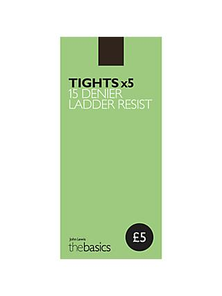 John Lewis & Partners 15 Denier Ladder Resist Tights, Pack of 5