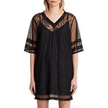 Buy AllSaints Chezza Lace T-Shirt Dress, Black Online at johnlewis.com