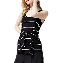 Buy Warehouse Stripe Tie Front Vest, Black Online at johnlewis.com