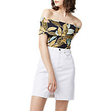 Buy Warehouse Tropical Print Deep Bardot Top, Multi Online at johnlewis.com