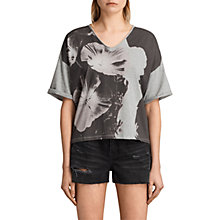 Buy AllSaints Reality Ada T-Shirt, Light Grey Marl Online at johnlewis.com