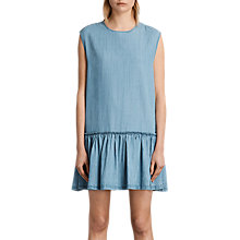 Buy AllSaints Polly Ruffle Dress, Mid Indigo Blue Online at johnlewis.com
