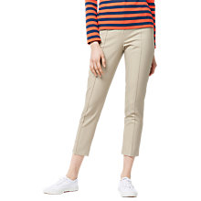Buy Warehouse Compact Cotton Trousers, Stone Online at johnlewis.com