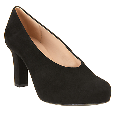 Unisa Nebula Block Heeled Court Shoes, Black
