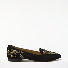Buy John Lewis Gem Embellished Loafers, Black Suede Online at johnlewis.com