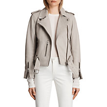 Buy AllSaints Leather Balfern Biker Jacket, Light Grey Online at johnlewis.com