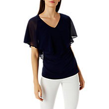 Buy Coast Isla Frill Top, Navy Online at johnlewis.com