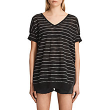Buy AllSaints Brook V-Neck Jumper, Black/White Online at johnlewis.com