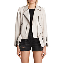Buy AllSaints Leather Balfern Biker Jacket, White Online at johnlewis.com