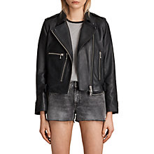 Buy AllSaints Milne Leather Biker Jacket, Black Online at johnlewis.com