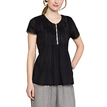 Buy East Joel Pintuck Blouse, Black Online at johnlewis.com
