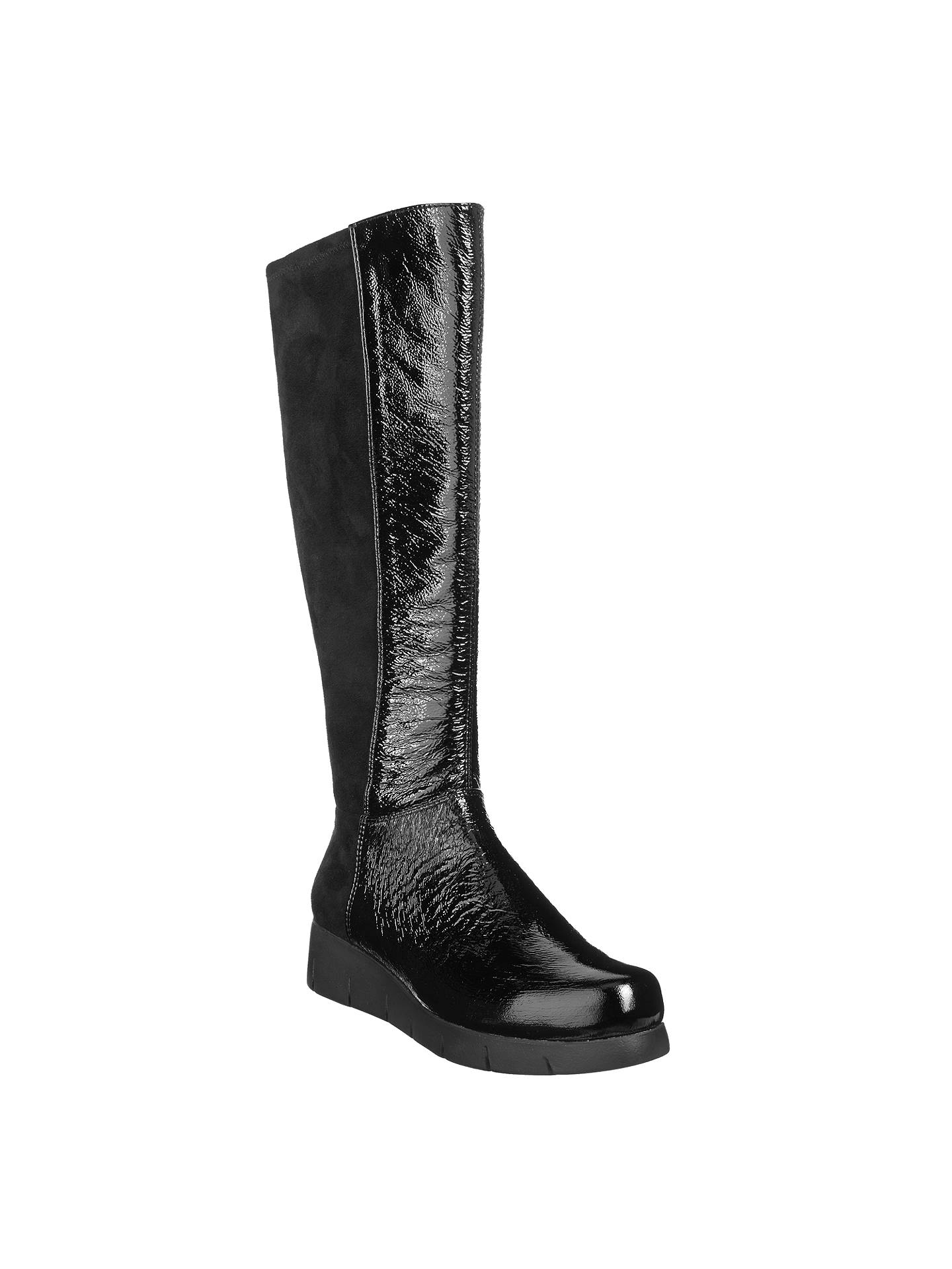 9cce441d3bf Unisa Folio Flatform Knee High Boots, Black at John Lewis & Partners