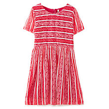 Buy Yumi Girl Multicolour Striped Lace Dress, Raspberry Online at johnlewis.com