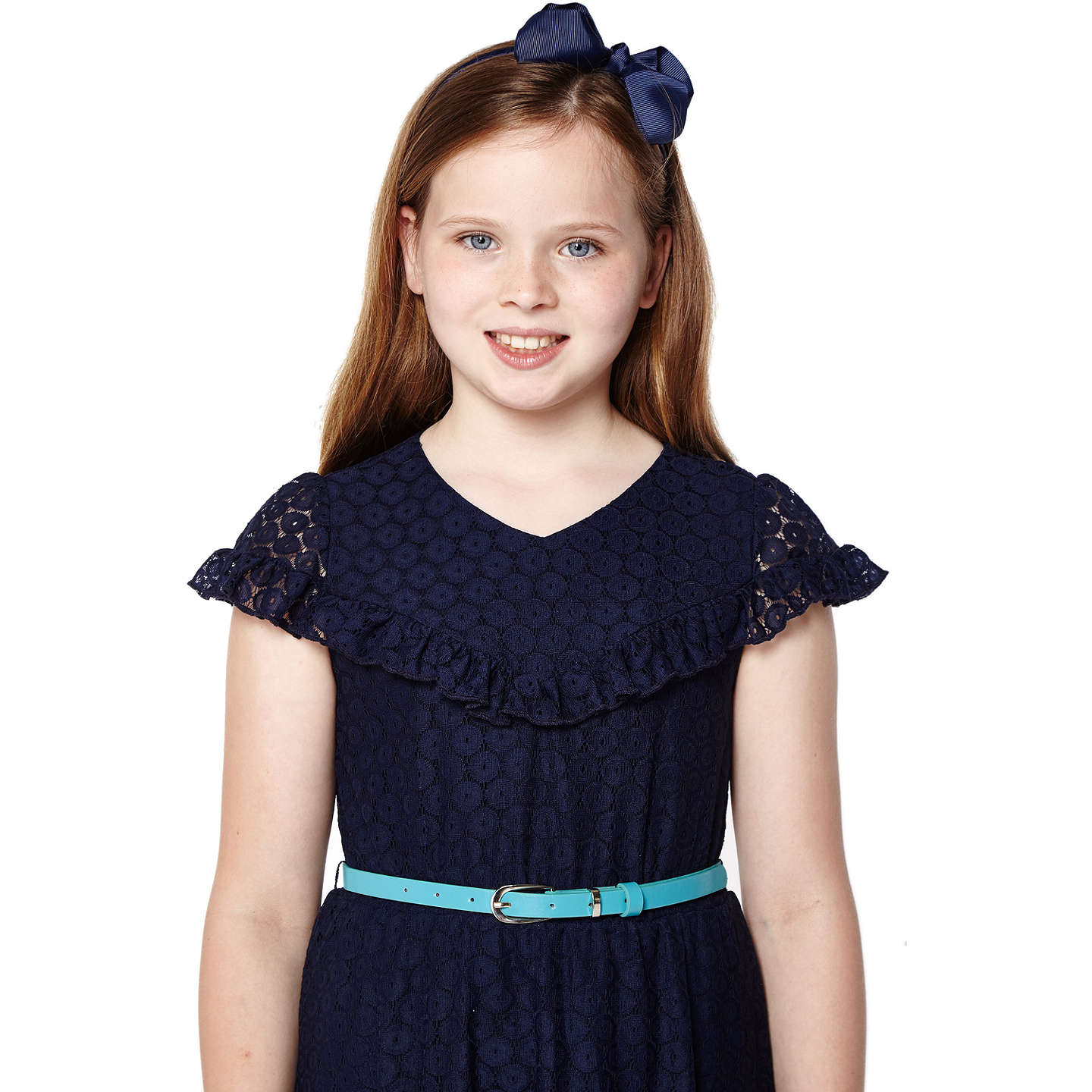BuyYumi Girl Lace Ruffle Dress, Navy, 9-10 years Online at johnlewis.com