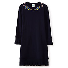 Buy Yumi Girl Floral Embroidered Knitted Dress, Navy Online at johnlewis.com