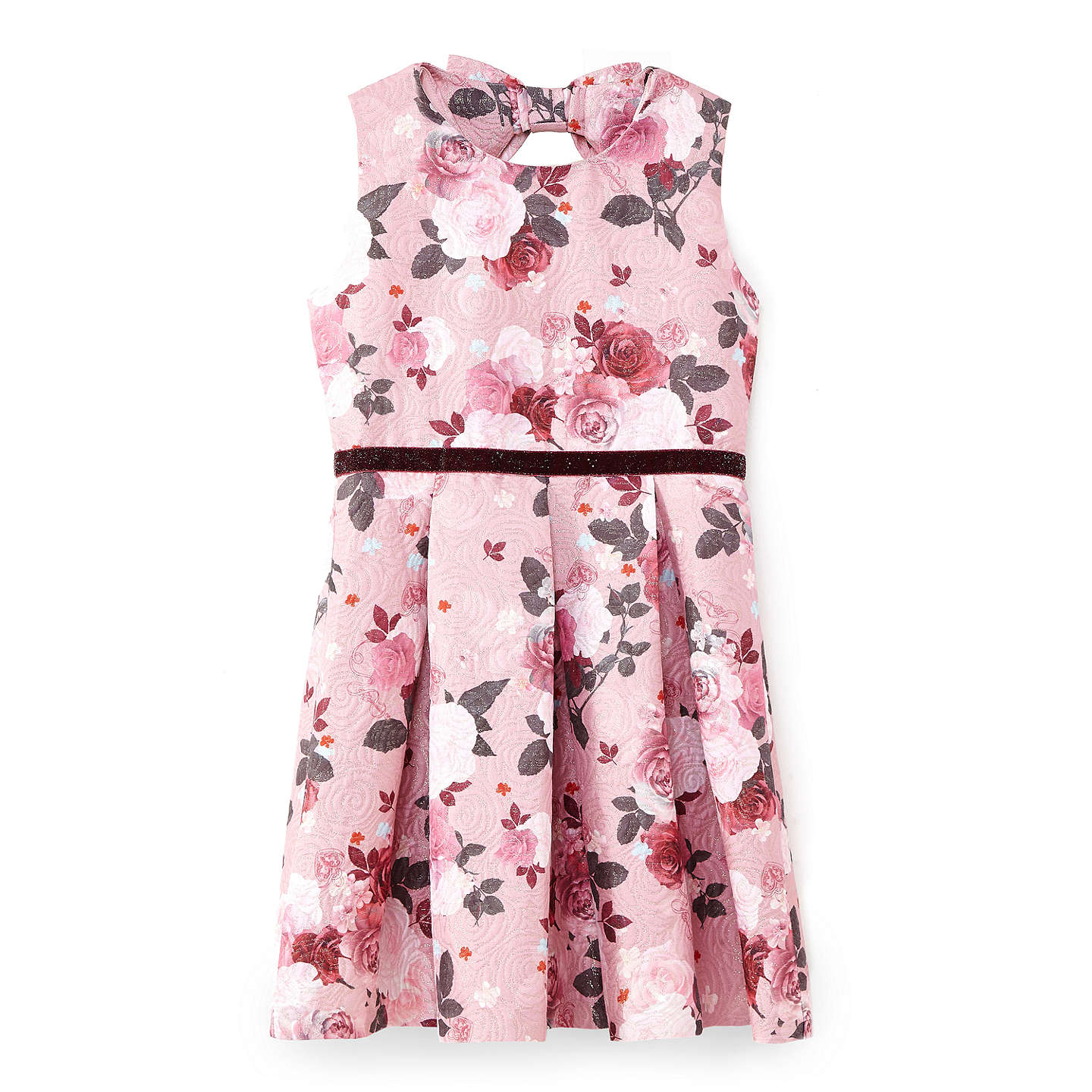 BuyYumi Girl Lock and Key Jacquard Dress, Dusty Pink, 7 - 8 years Online at johnlewis.com