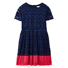 Buy Yumi Girl Pleated Lace Panel Dress, Navy Online at johnlewis.com