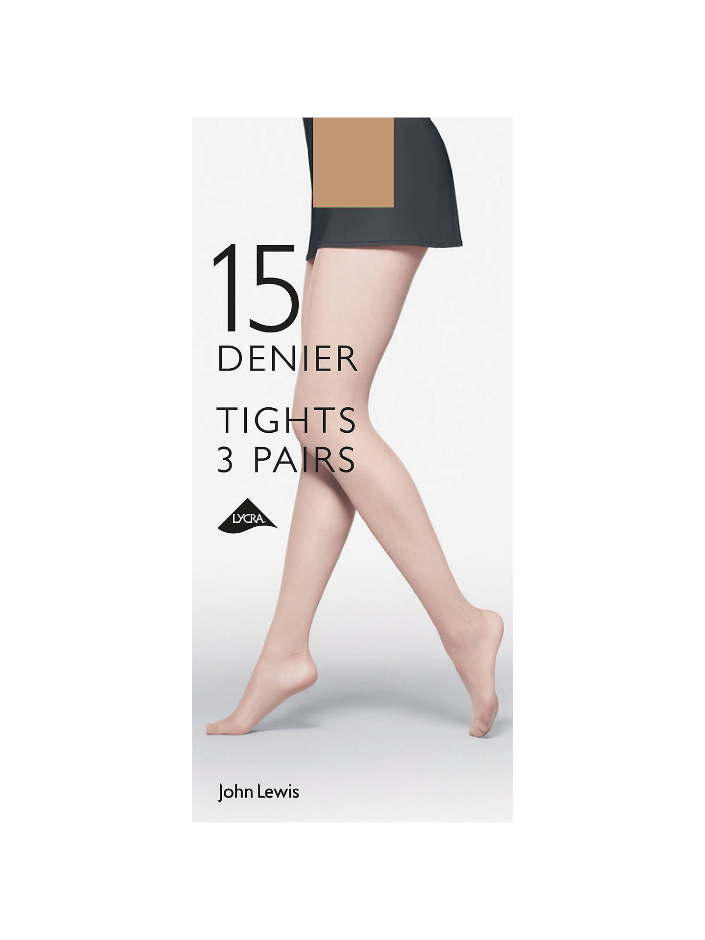 Buy John Lewis & Partners 15 Denier Tights, Pack of 3, Natural Tan, S Online at johnlewis.com
