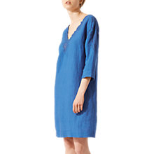 Buy Jigsaw Floral Embroidered Linen Dress, Azure Blue Online at johnlewis.com