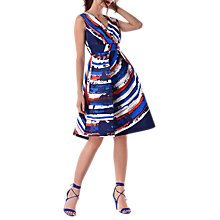 Buy Closet Full Skirt Printed Dress, Blue/Multi Online at johnlewis.com