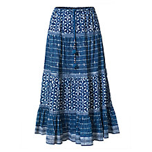 Buy East Anokhi Snowflake Print Tiered Skirt, Indigo Online at johnlewis.com