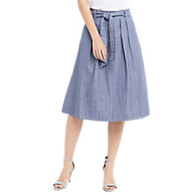 Buy Oasis Stripe Midi Skirt, Blue Online at johnlewis.com