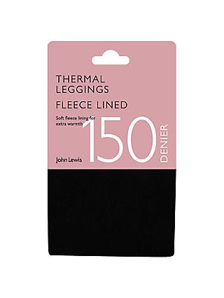 John Lewis & Partners 150 Denier Fleece Lined Leggings, Black