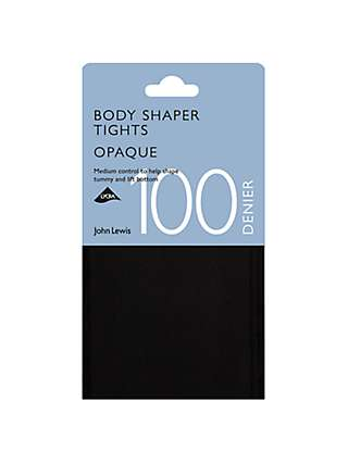 John Lewis & Partners 100 Denier Bodyshaper Opaque Tights, Black