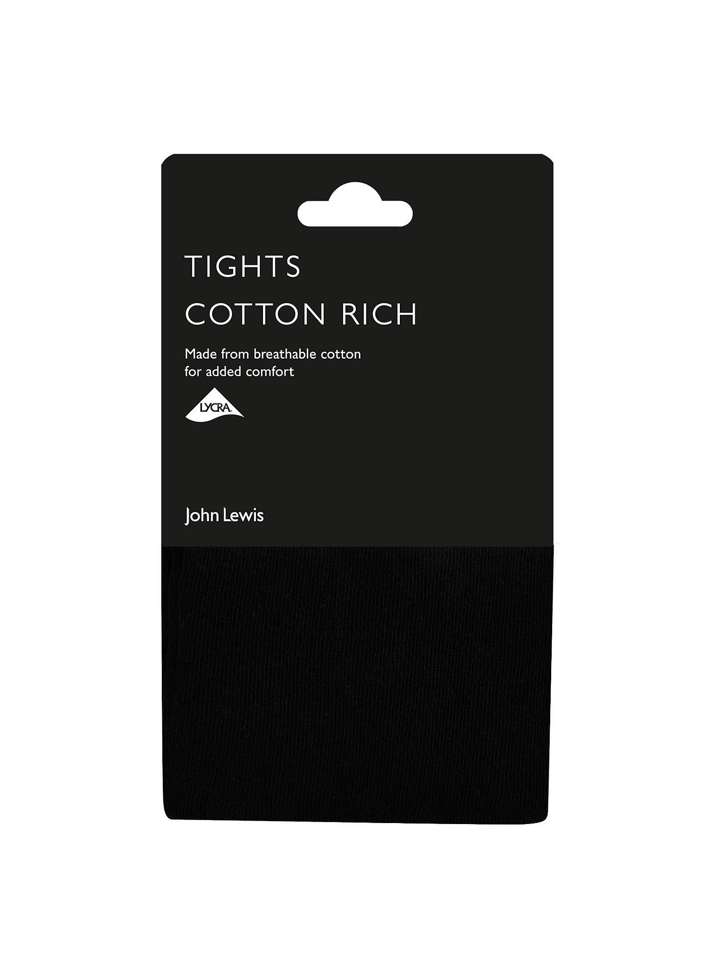 8ce93ae2b9256 Buy John Lewis & Partners 100 Denier Opaque Cotton Rich Tights, Black, S  Online ...