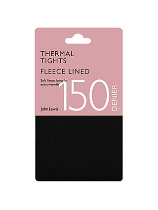 John Lewis & Partners 150 Denier Polar Fleece Opaque Thermal Tights, Black