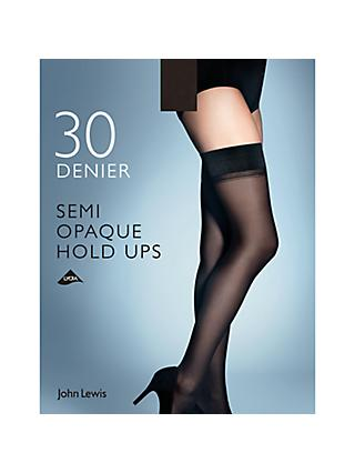 John Lewis & Partners 30 Denier Semi Opaque Hold Ups, Pack of 1, Black