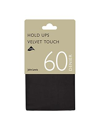 John Lewis & Partners 60 Denier Velvet Touch Hold Ups, Pack of 1, Black