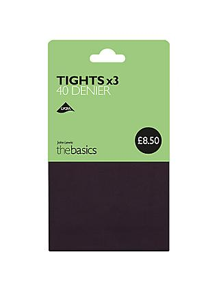 John Lewis & Partners 40 Denier Opaque Tights, Pack of 3